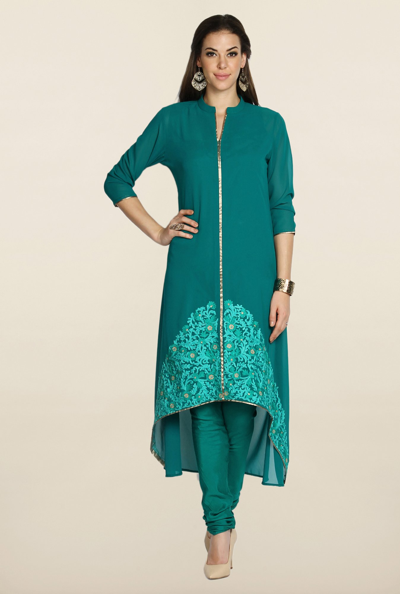 Soch Green Georgette Zari Suit Set