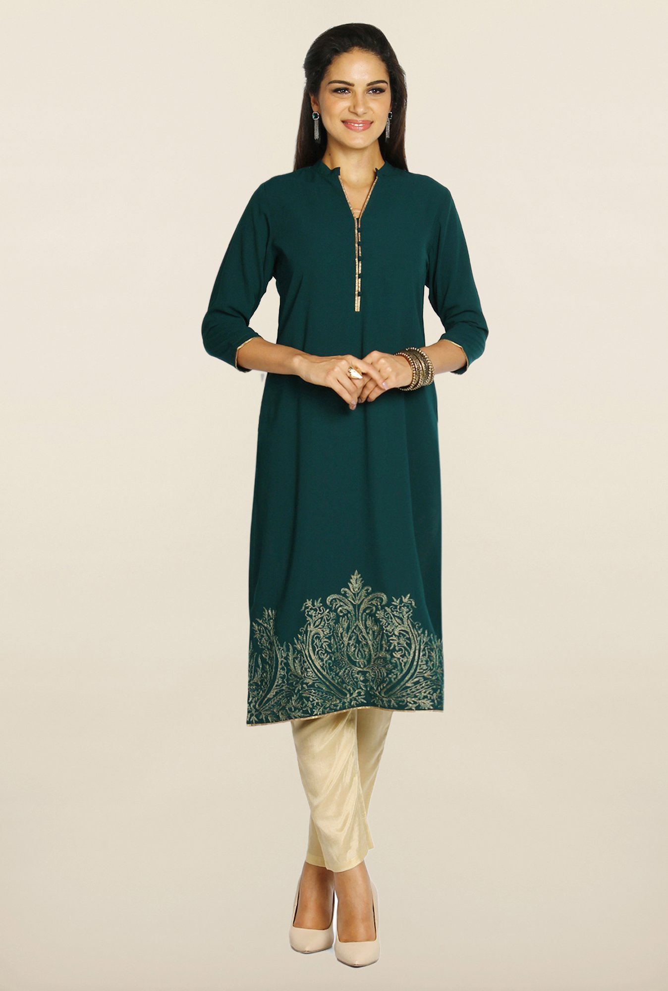 Soch Green & Beige Georgette Suit Set