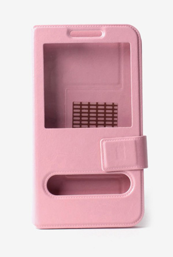 Callmate Window Sticker Flip Case for MicromaxA91 Light Pink