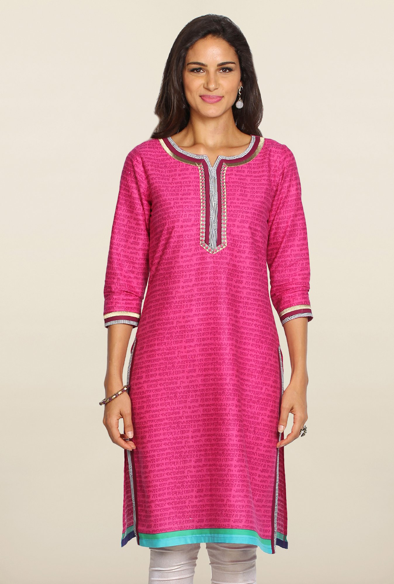 Soch Pink & Purple Embroidered Cotton Kurti