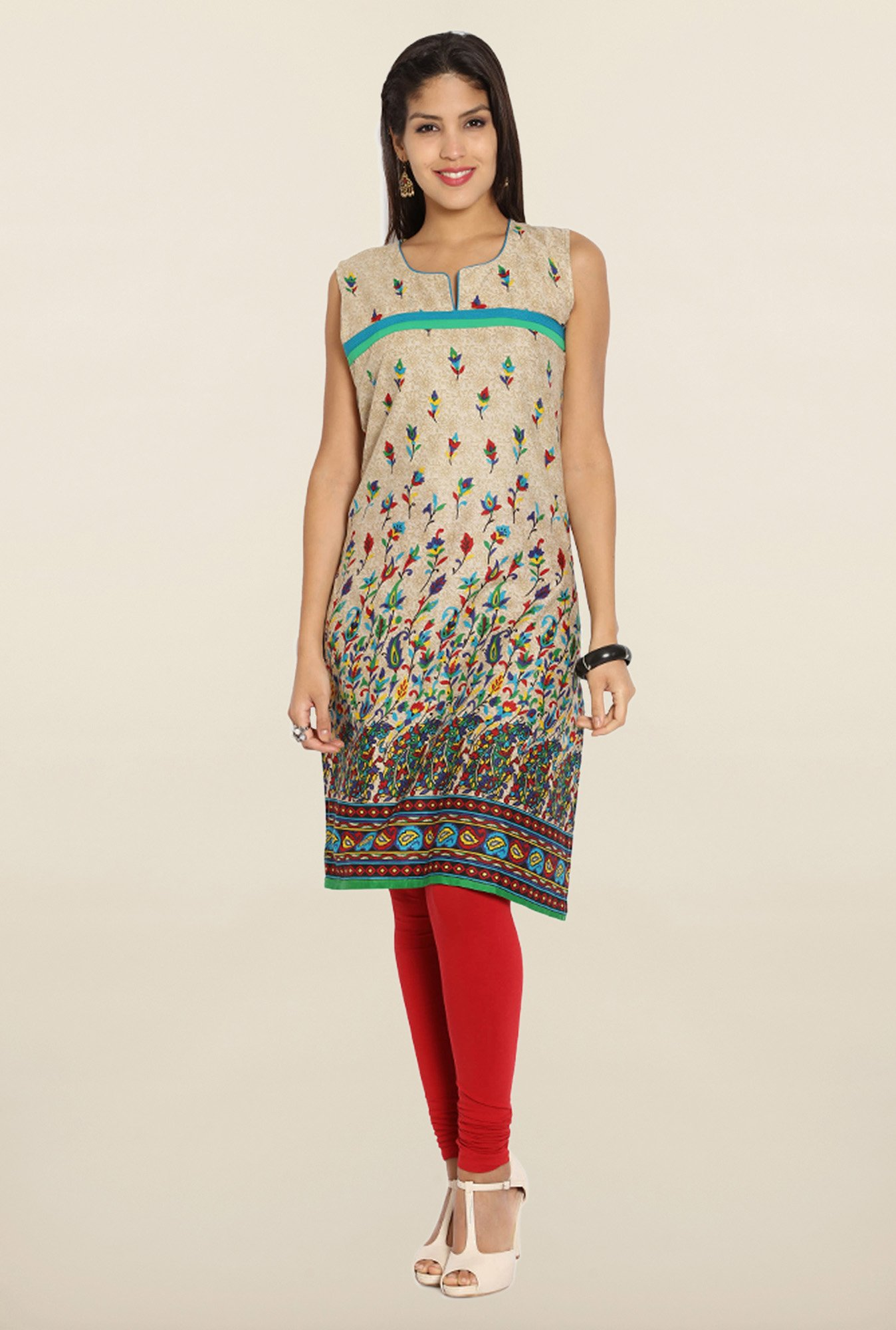 Soch Beige Printed sleeveless Cotton Kurti