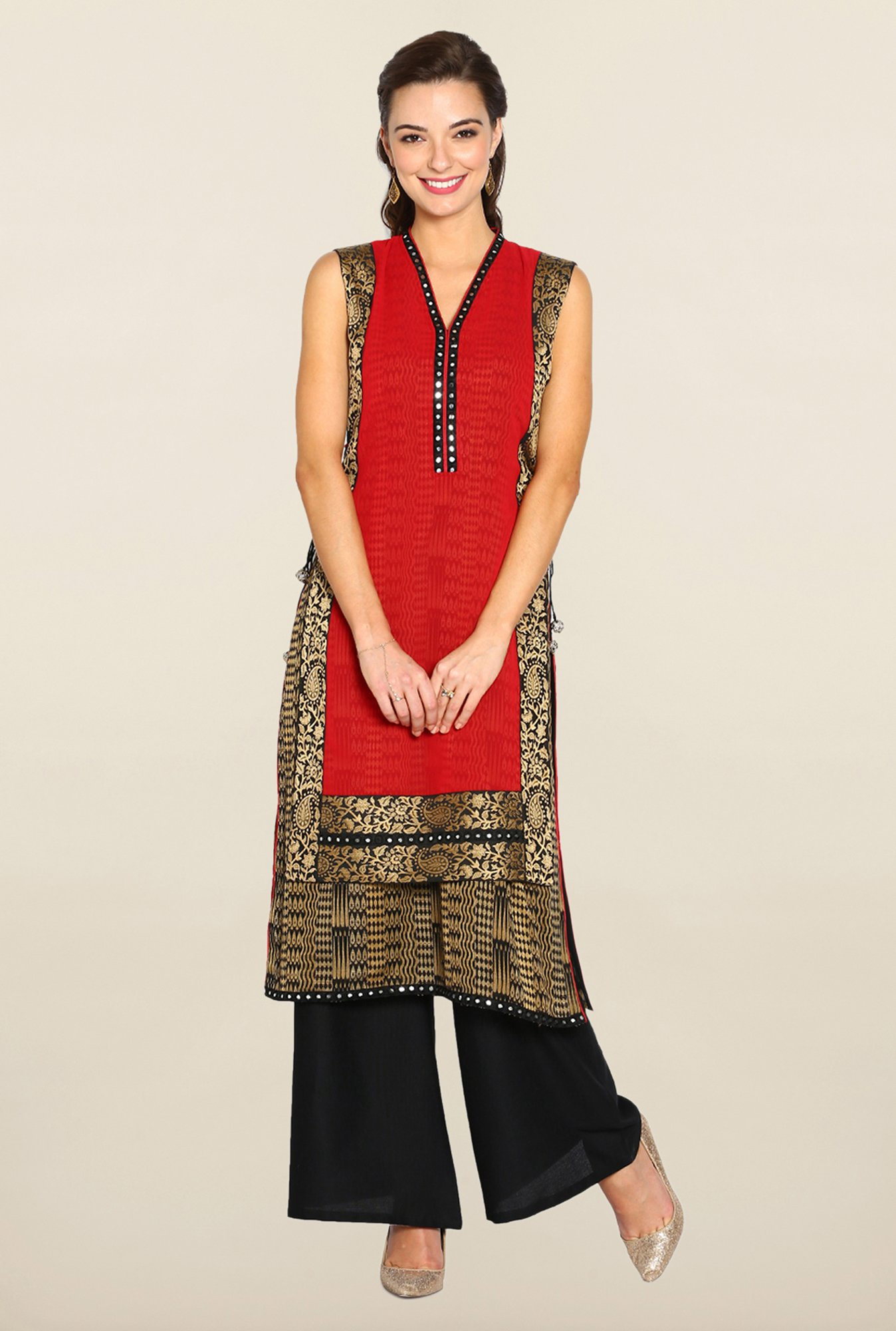 Soch Red & Black Printed Suit Set