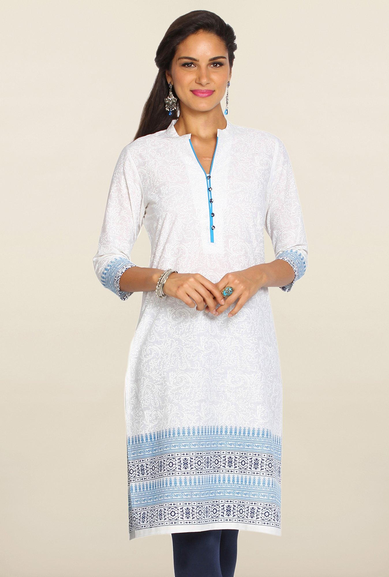 Soch White & Blue Floral Print Cotton Kurti