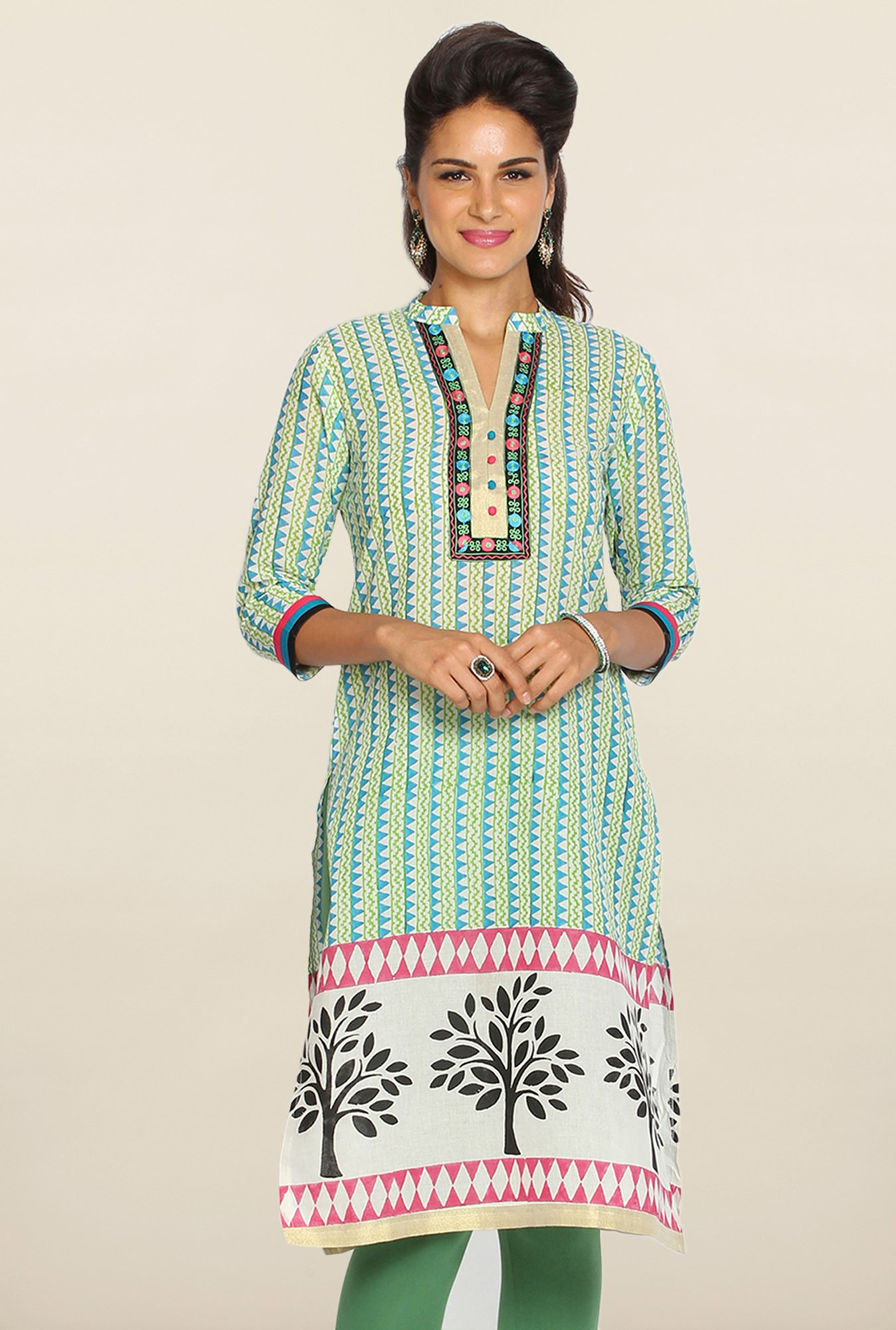 Soch Green & Blue Ikkat Cotton Kurti