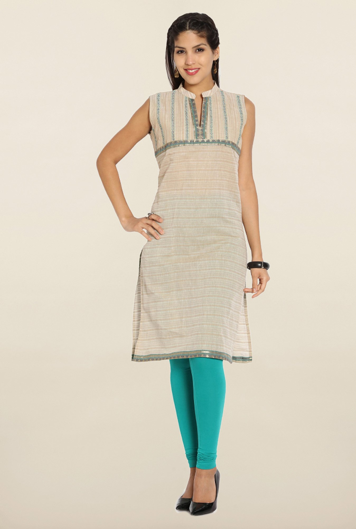 Soch Beige & Blue Embroidered Cotton Kurti