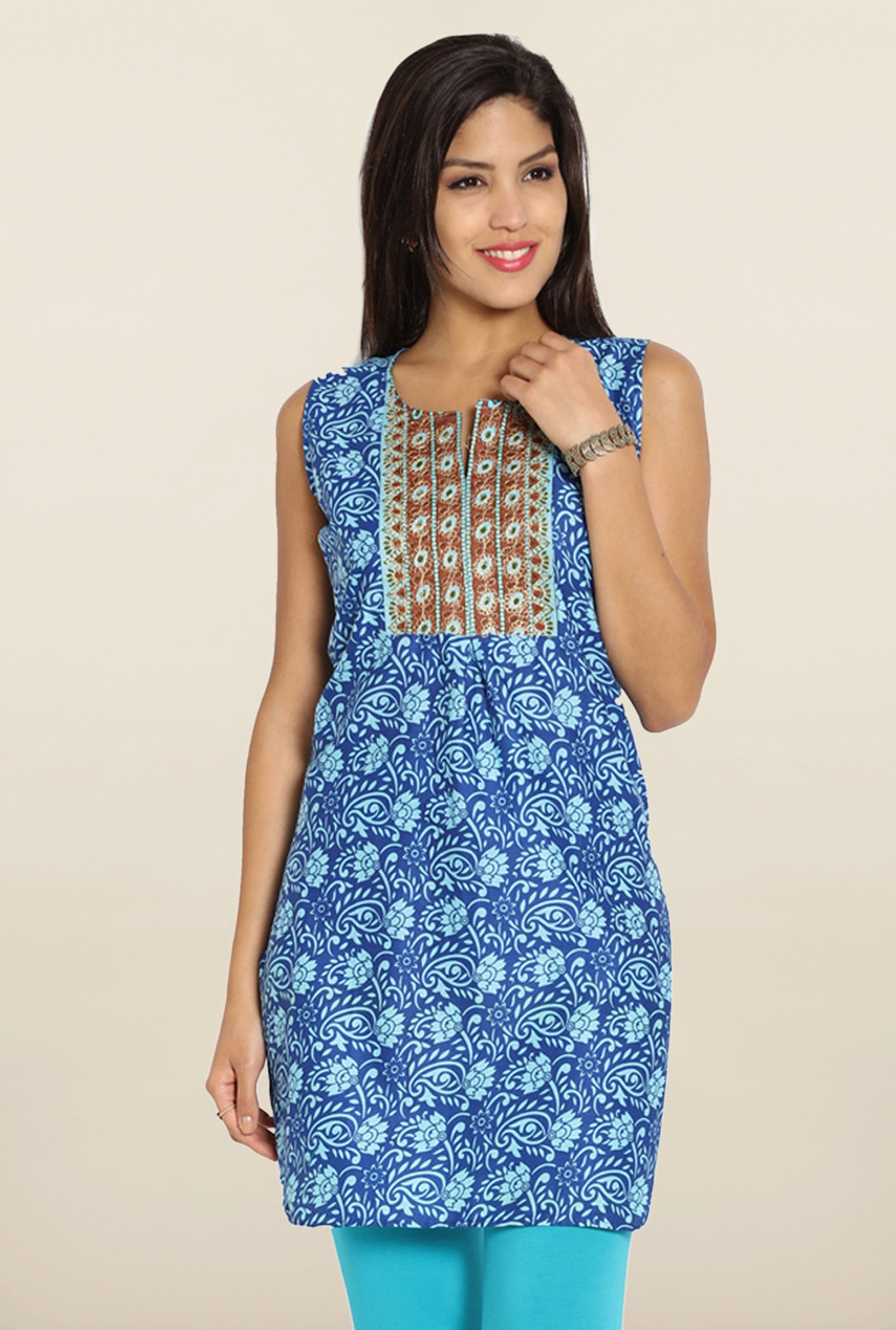 Soch Royal Blue Printed Embroidered Cotton Kurti