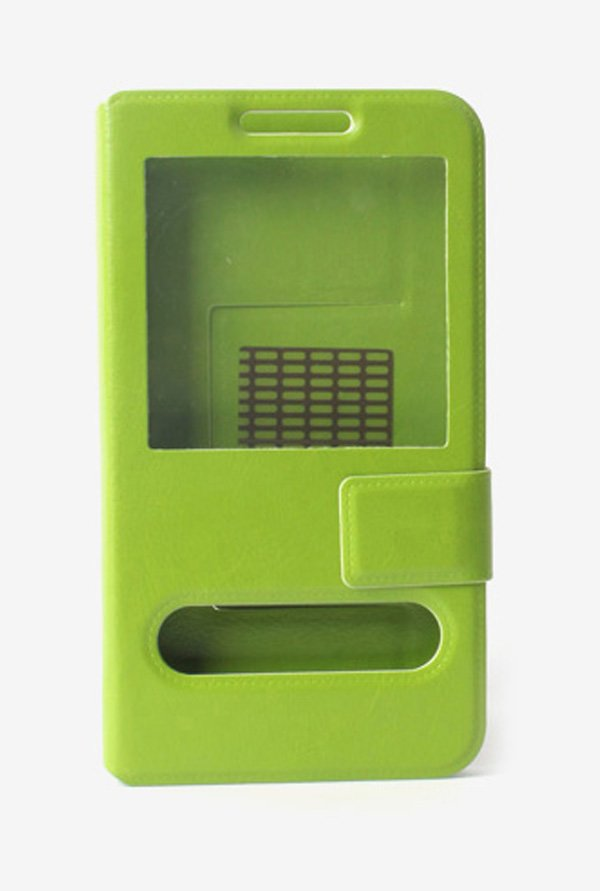 Callmate Window Sticker Flip Cover for Lava Pro 20 Green