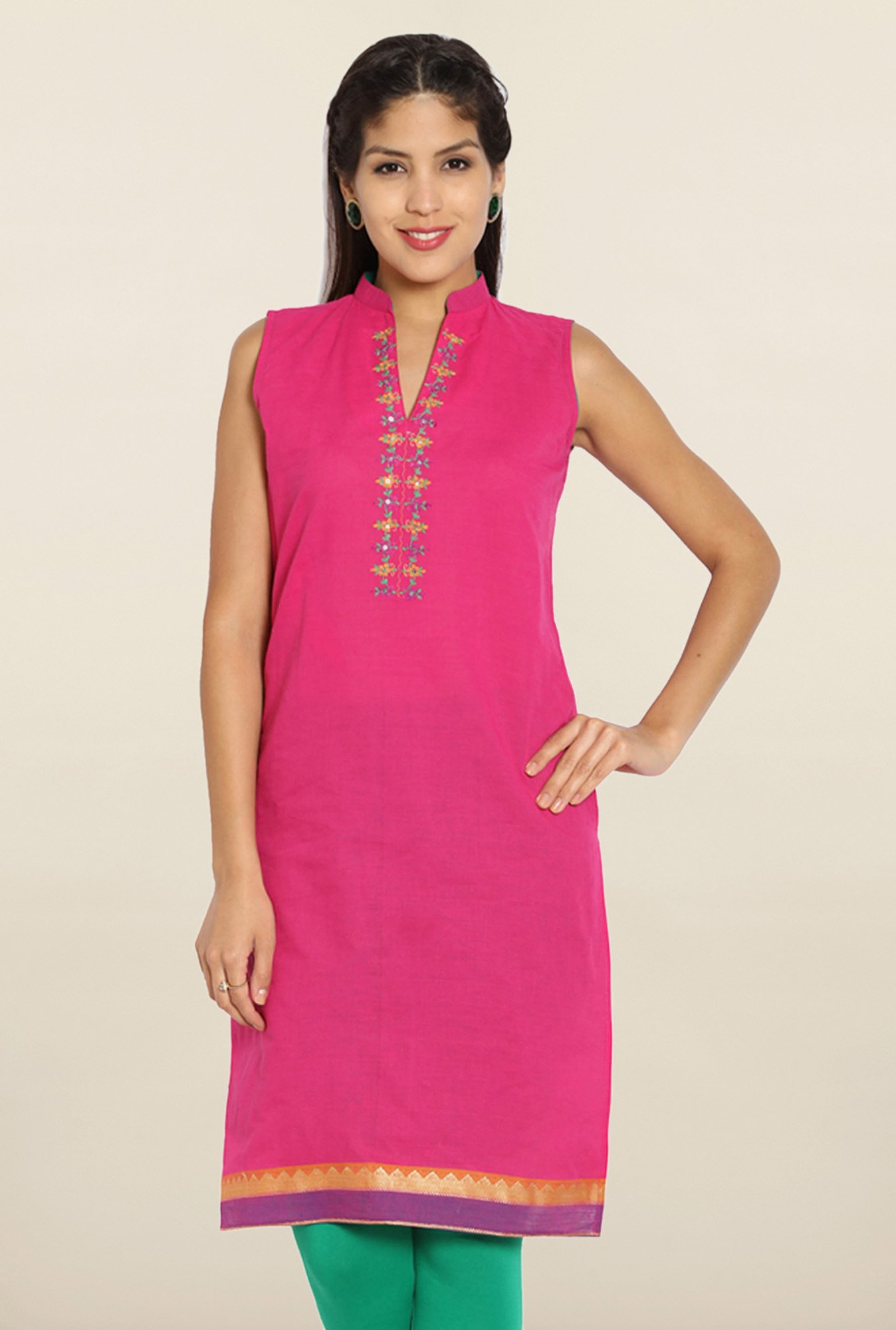 Soch Pink Sleeveless Embroidered Cotton Kurti