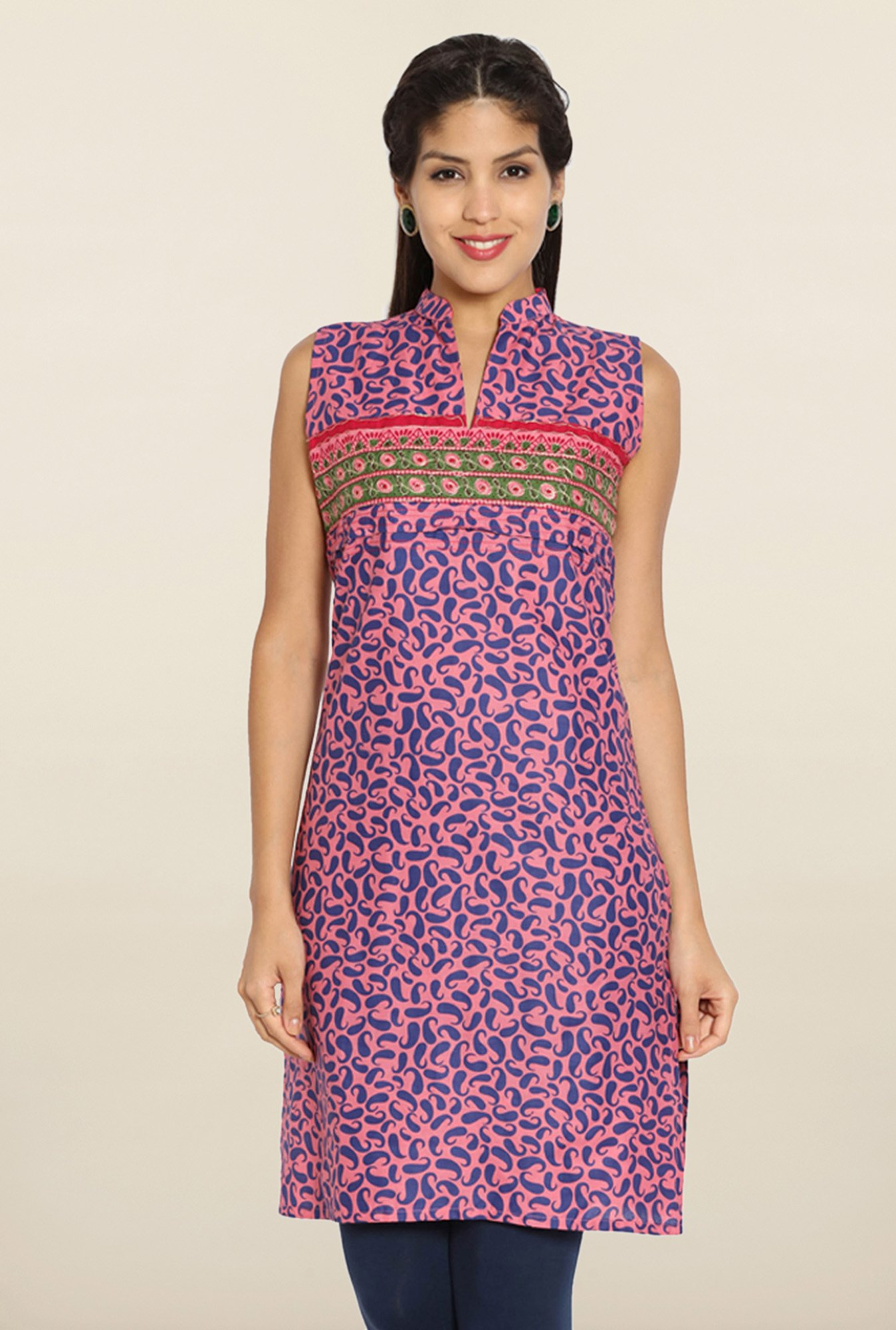 Soch Pink & Blue Printed Cotton Kurti