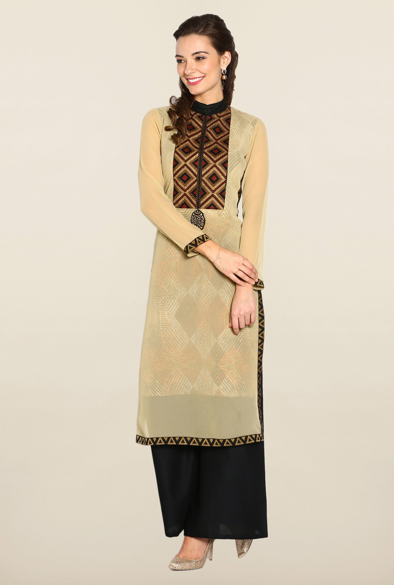 Soch Beige & Black Georgette Suit Set