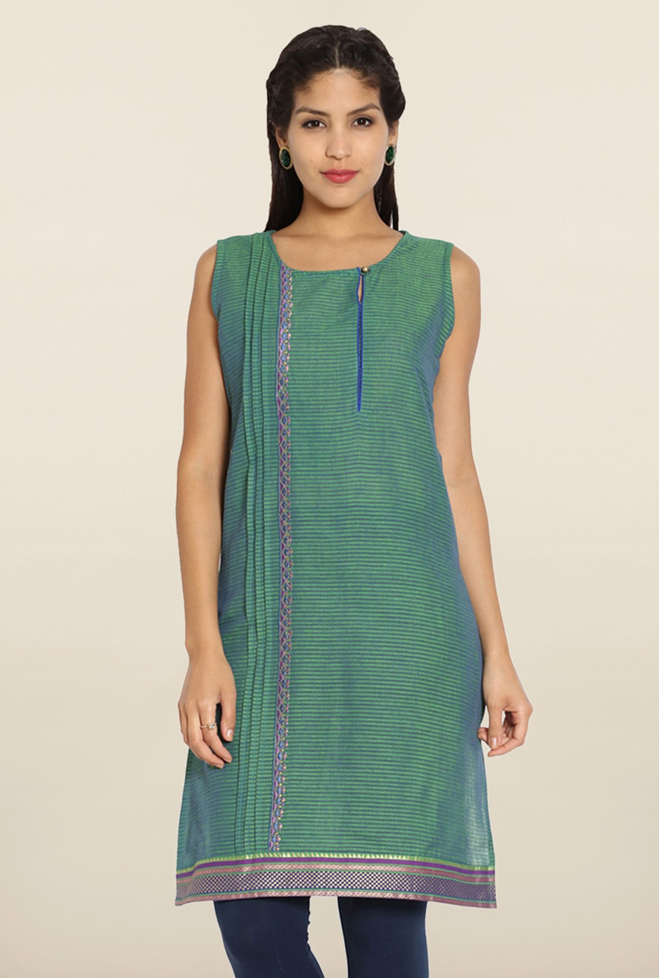 Soch Green & Royal Blue Cotton Kurti