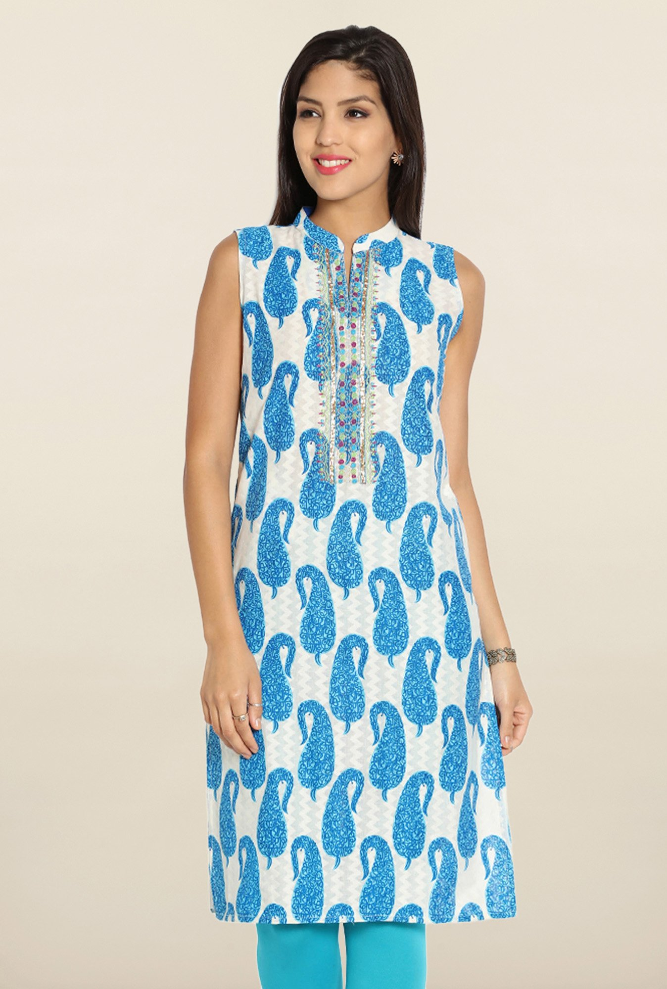 Soch Off White & Royal Blue Paisley Cotton Kurti