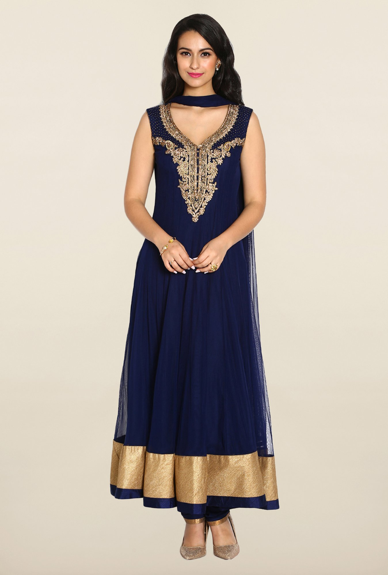Soch Navy & Gold Anarkali Chudidhar Suit Set