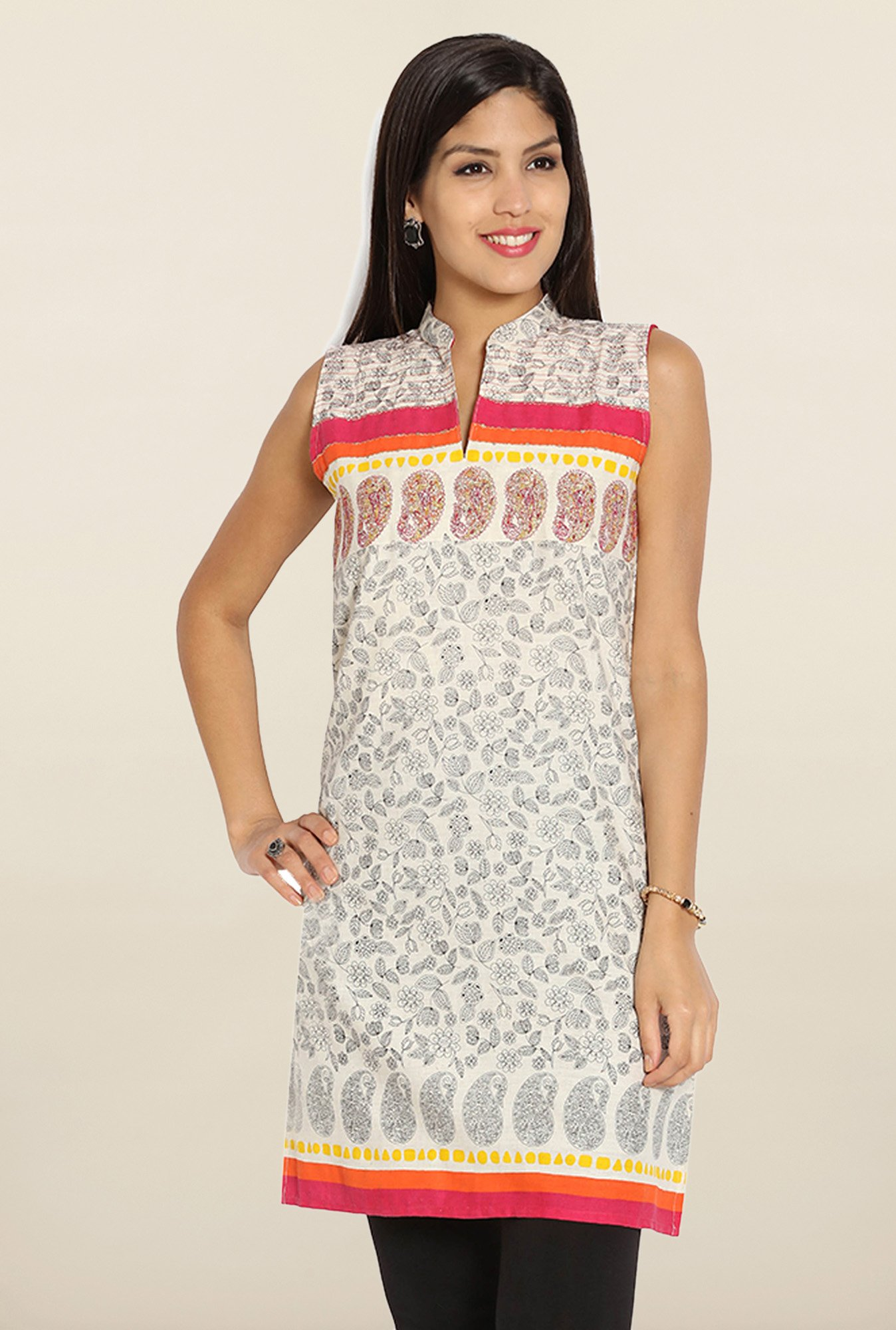 Soch Cream & Black Printed Cotton Kurti