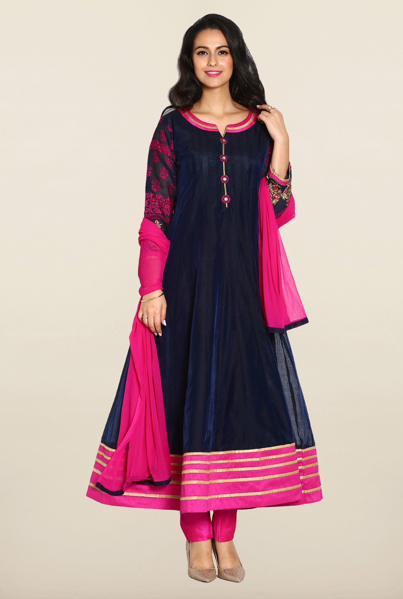 Soch Navy & Pink Anarkali Chudidhar Suit Set