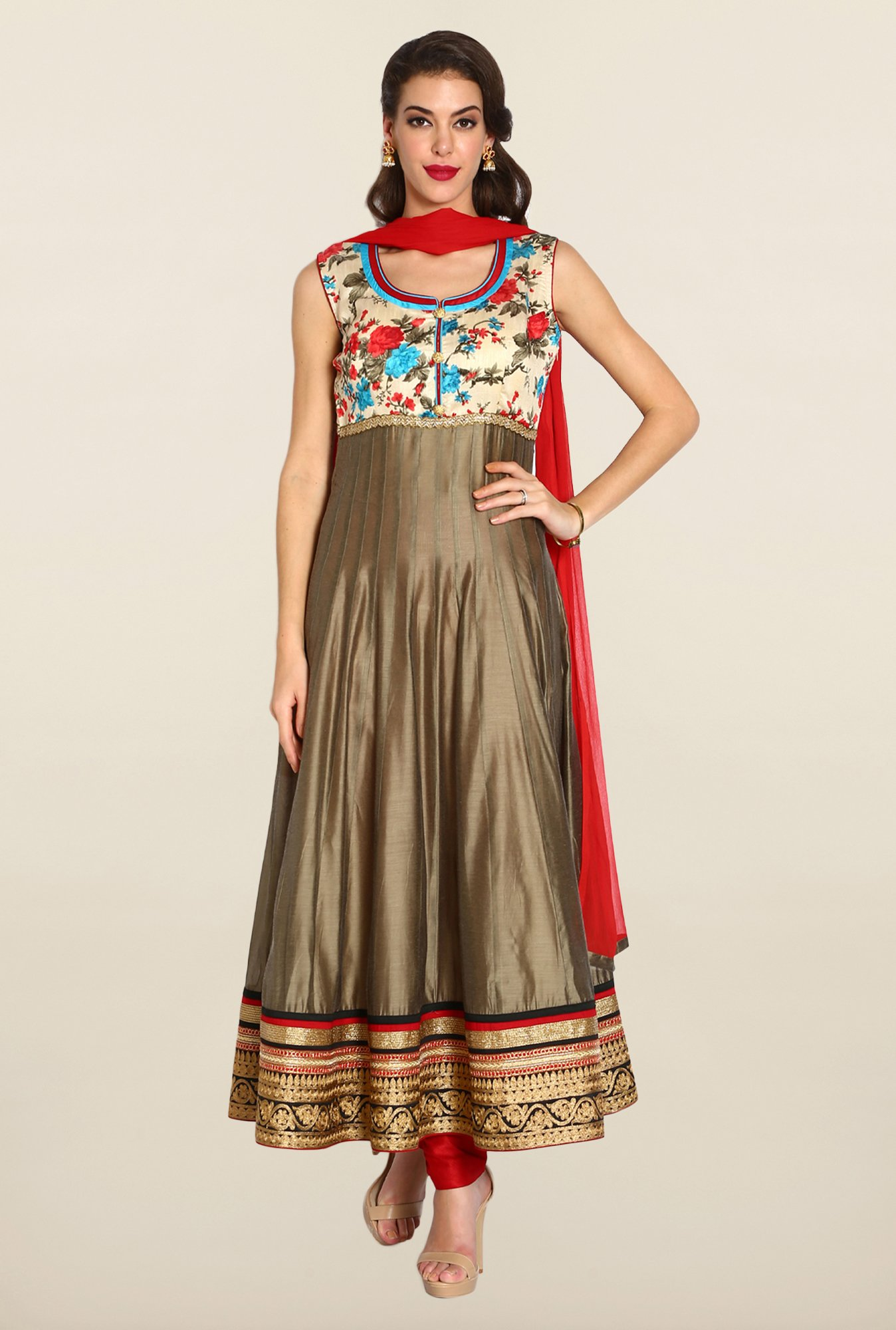 Soch Dark Brown & Red Anarkali Chudidhar Suit Set