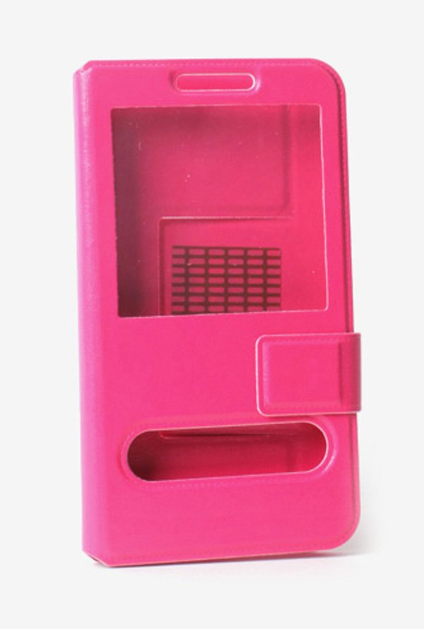Callmate Window Sticker Flip Cover Dark Pink For XOLO Q1010i