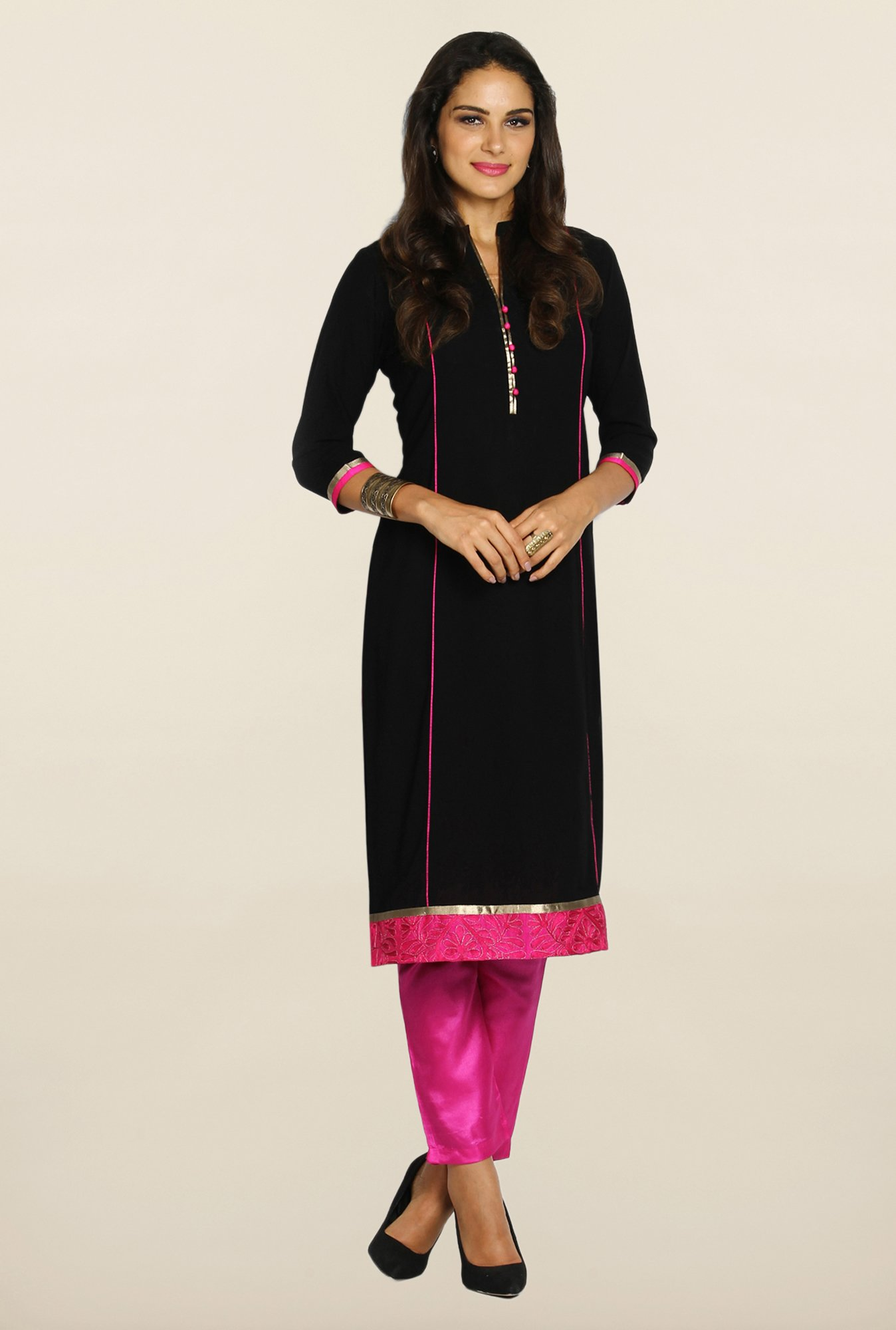 Soch Black & Magenta Georgette Suit Set