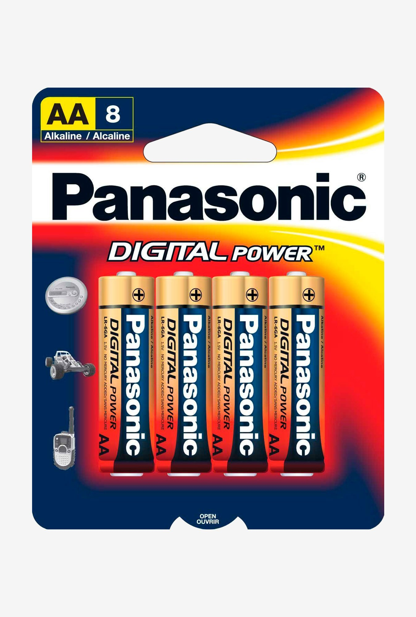 Panasonic Digital Power Lr-6Ga/8B Aa Alkaline Batteries - 8 Pack