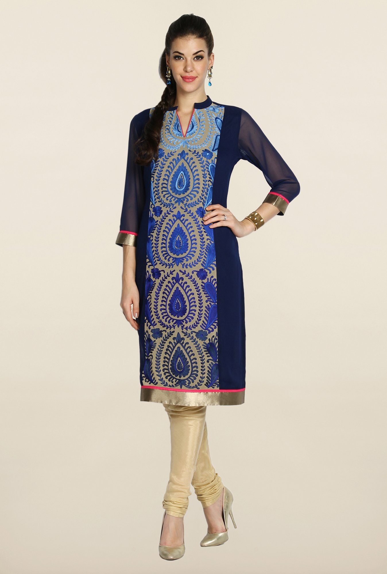 Soch Royal Blue & Beige Embroidered Suit Set