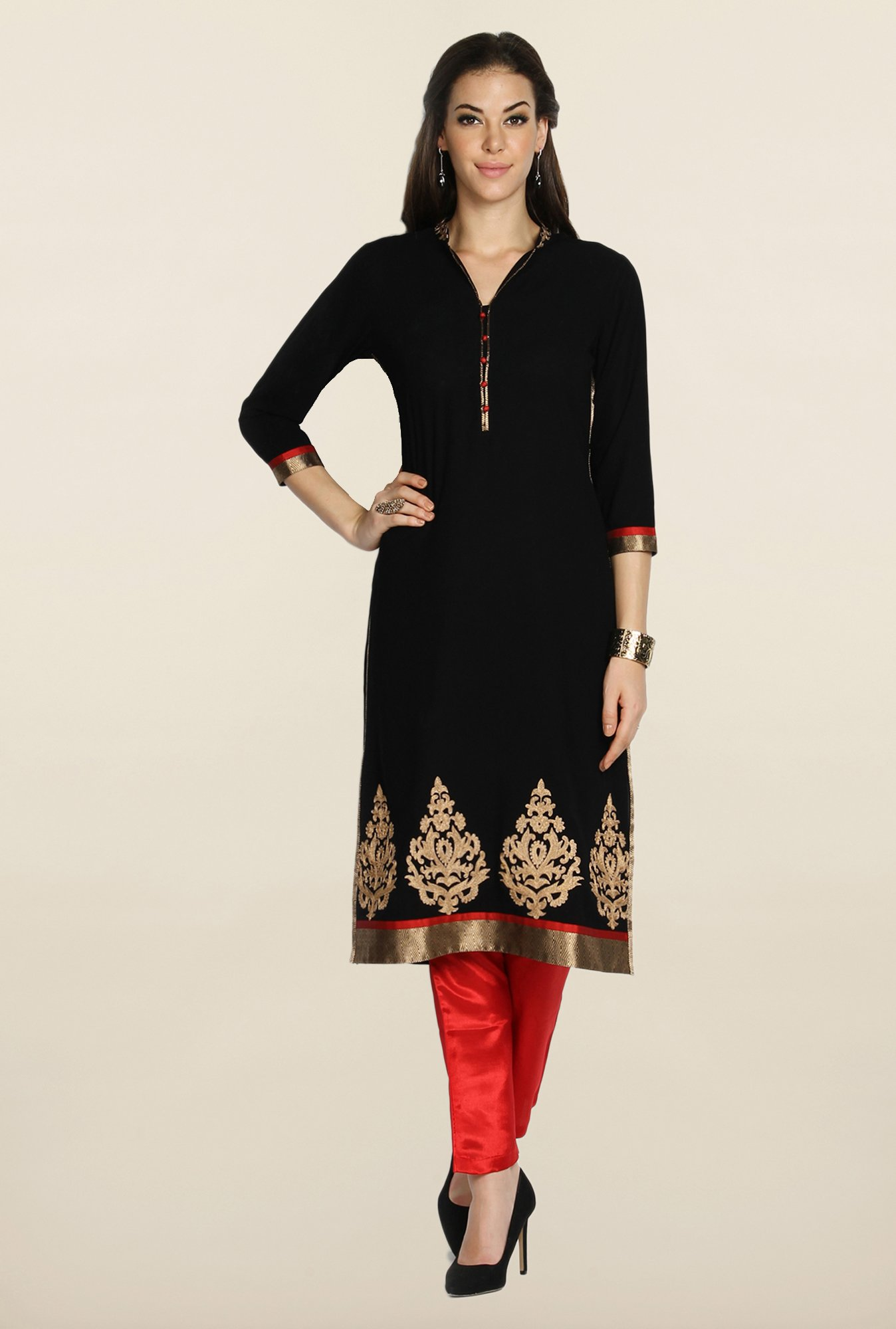 Soch Black & Red Georgette Suit Set