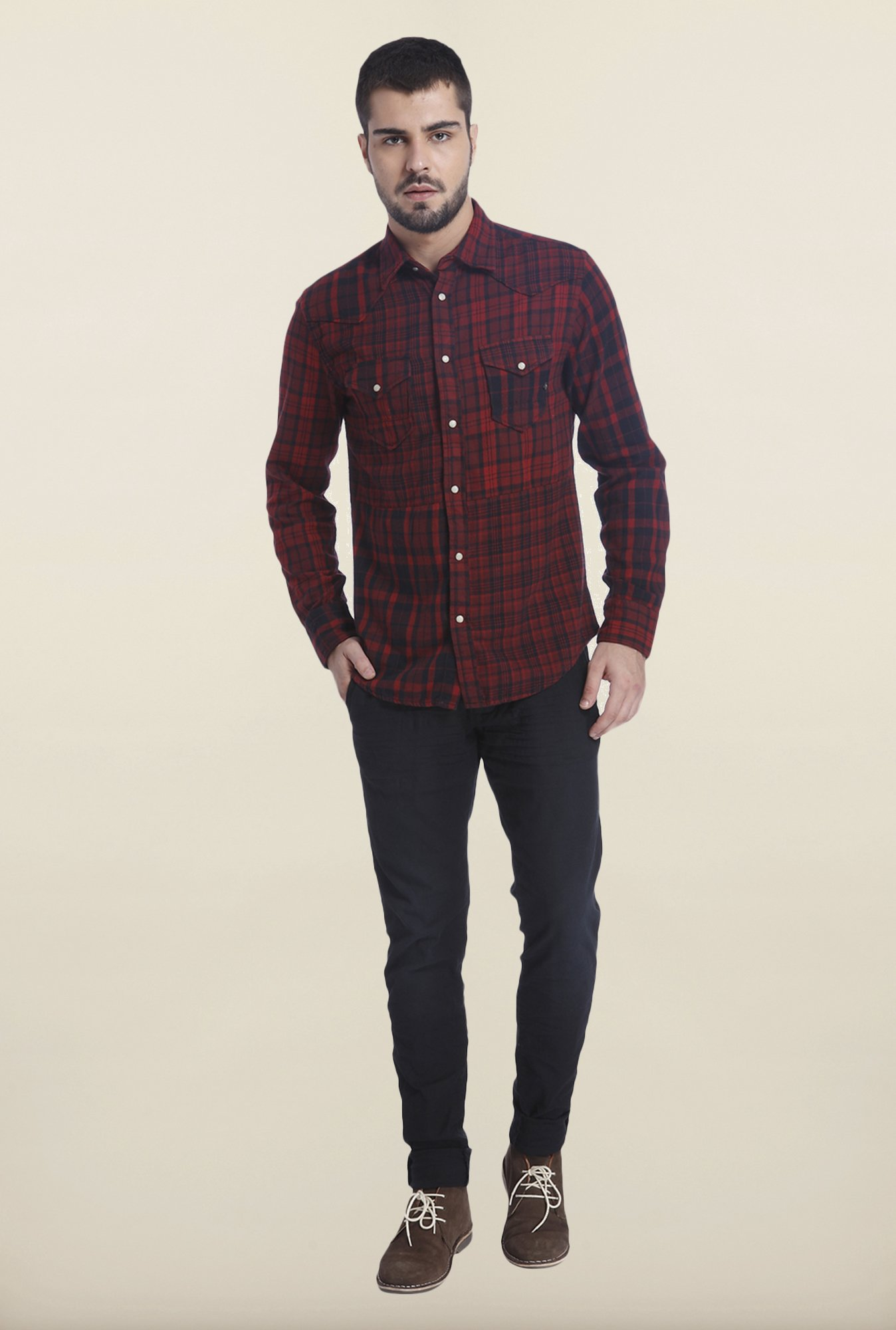 Jack & Jones Syrah Cotton Checks Shirt