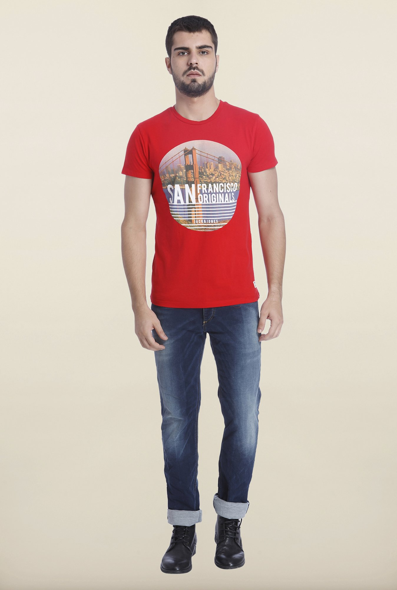 Jack & Jones Red Crew Neck T Shirt