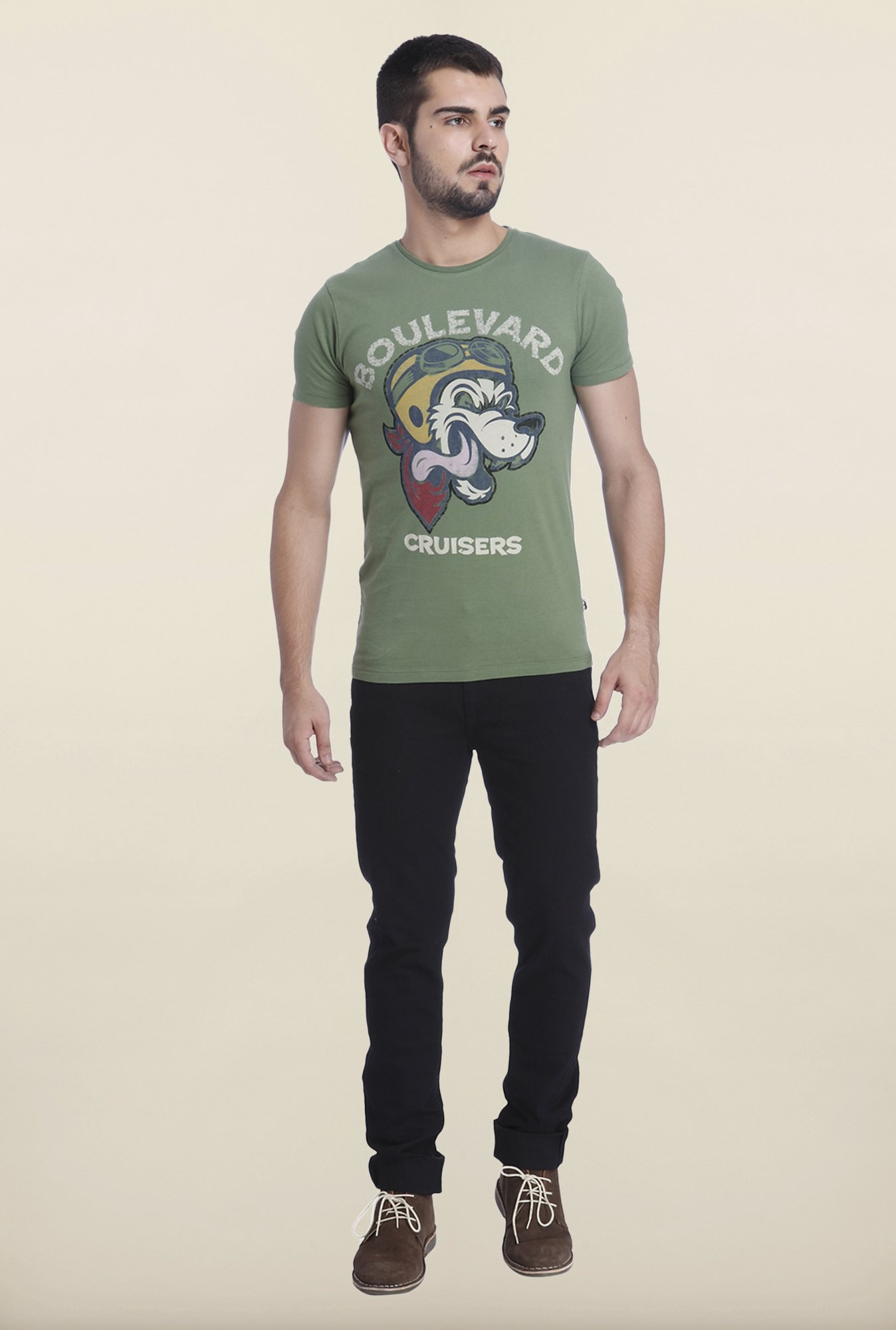 Jack & Jones Green Printed T Shirt