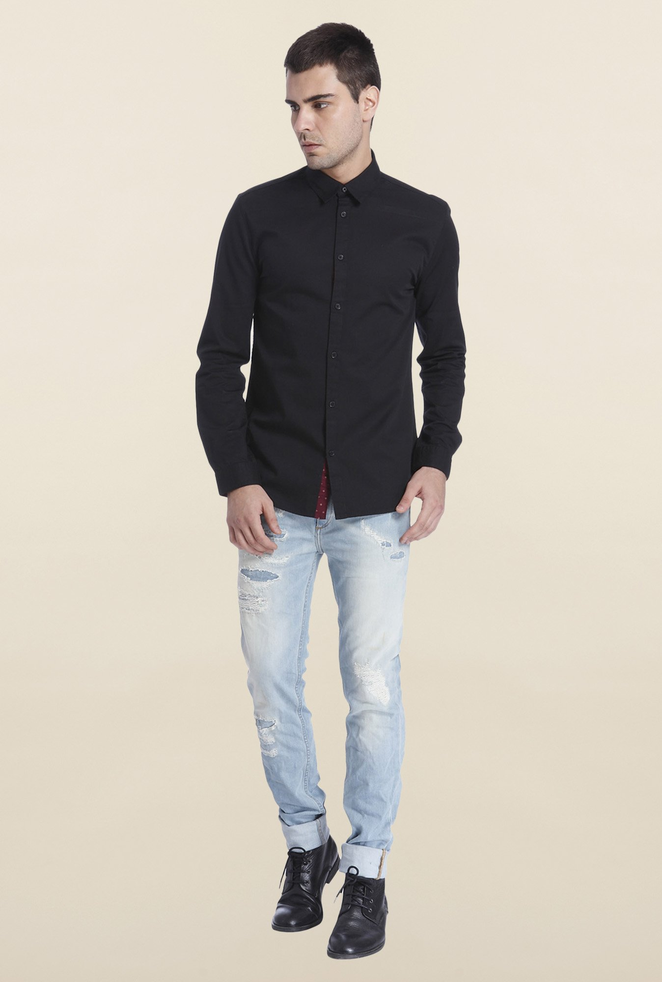 Jack & Jones Black Solid Cotton Shirt