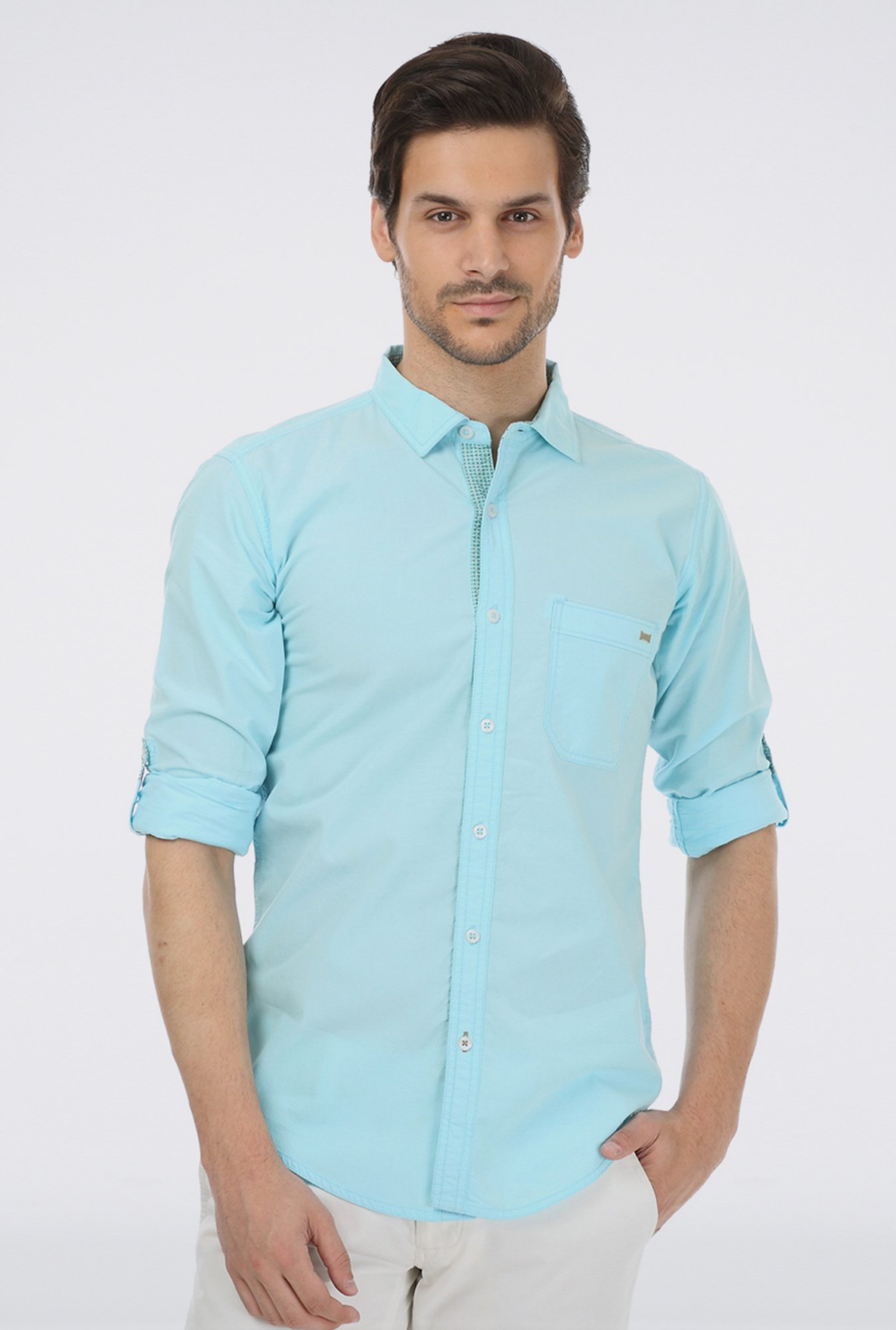 Basics Aqua Cotton Casual Shirt