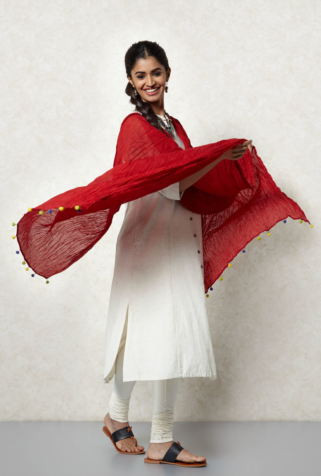 Okhai Red Malmal Crushed Dupatta