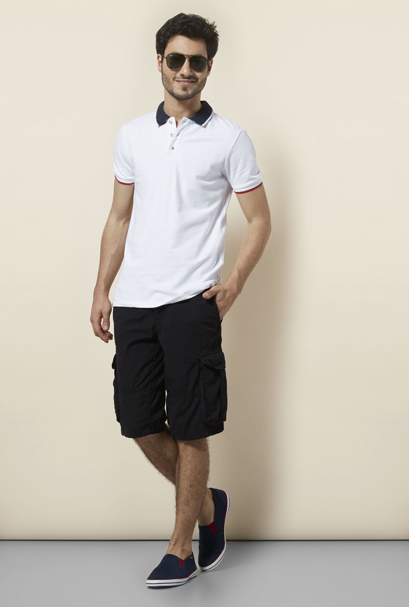celio* White Slim Fit Polo T-Shirt