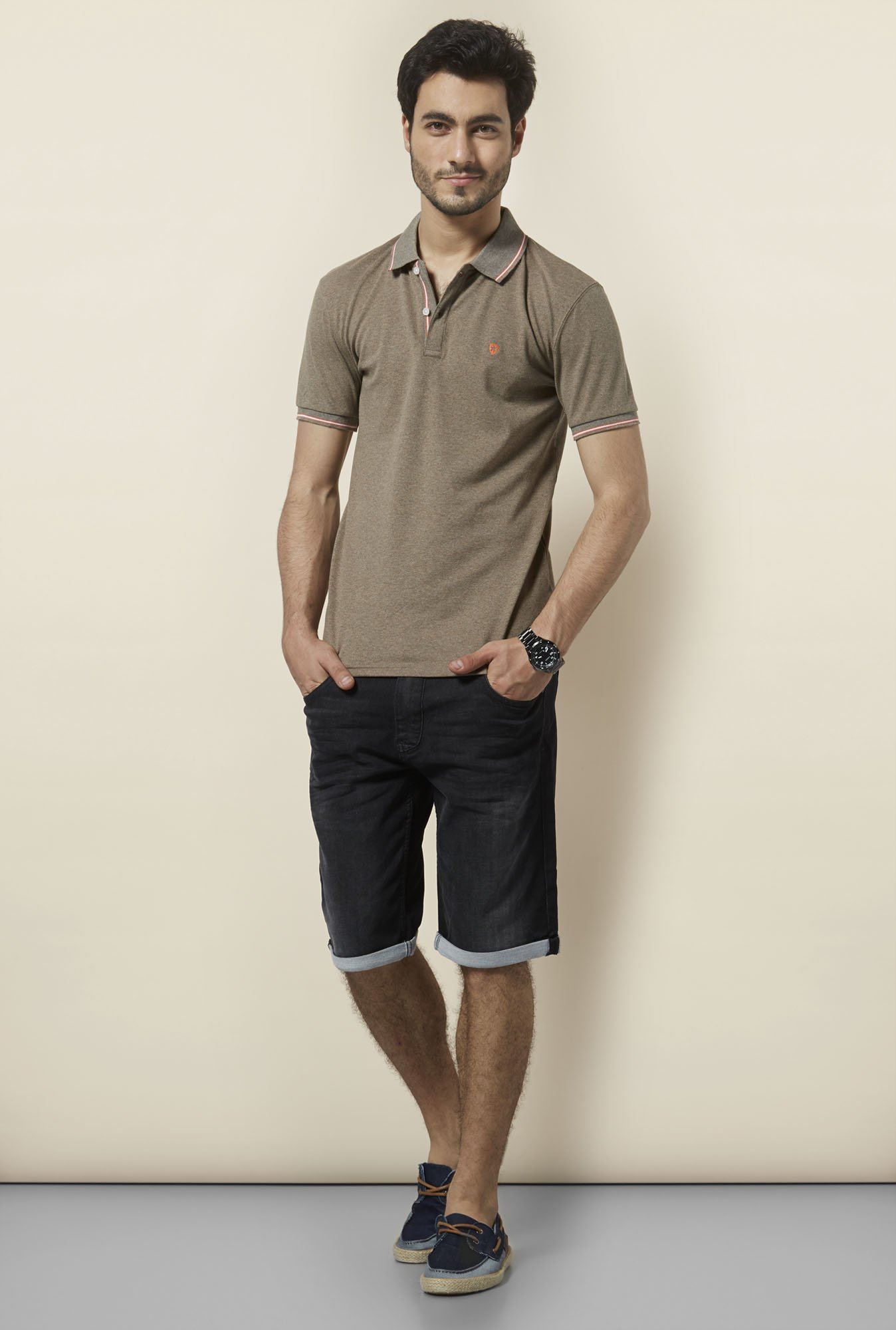 celio* Brown Solid Polo T-Shirt