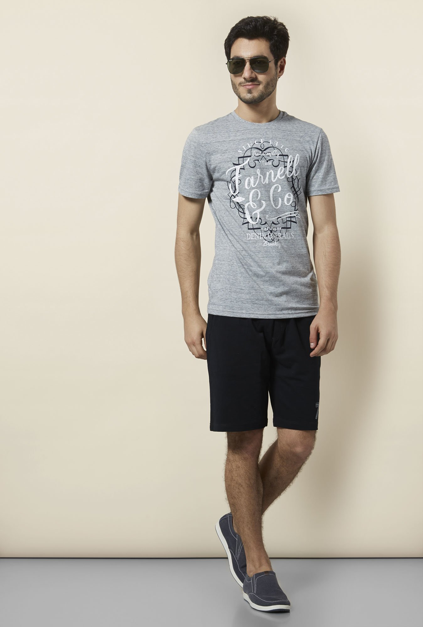 celio* Grey Printed T-Shirt