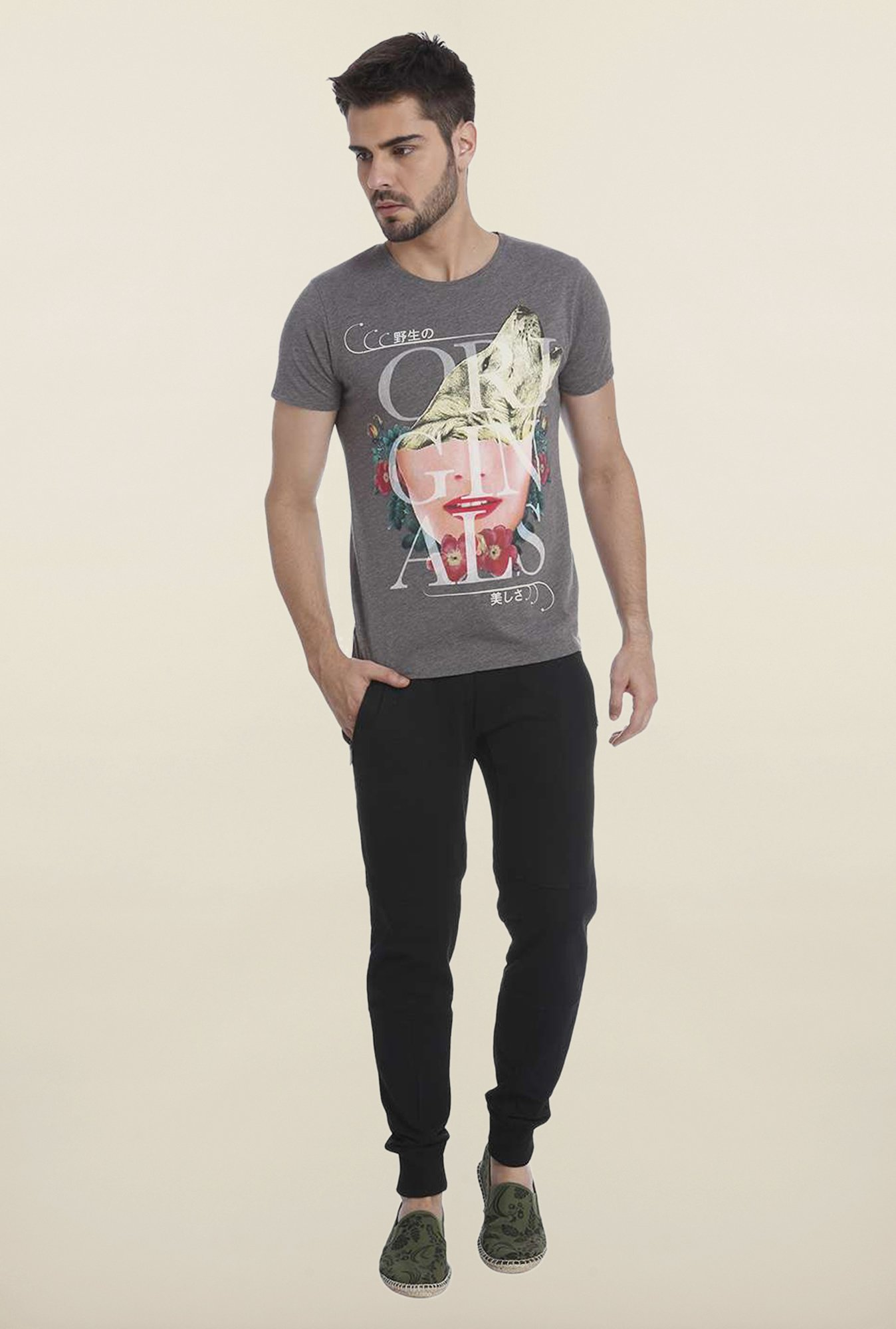 Jack & Jones Grey Graphic T Shirt
