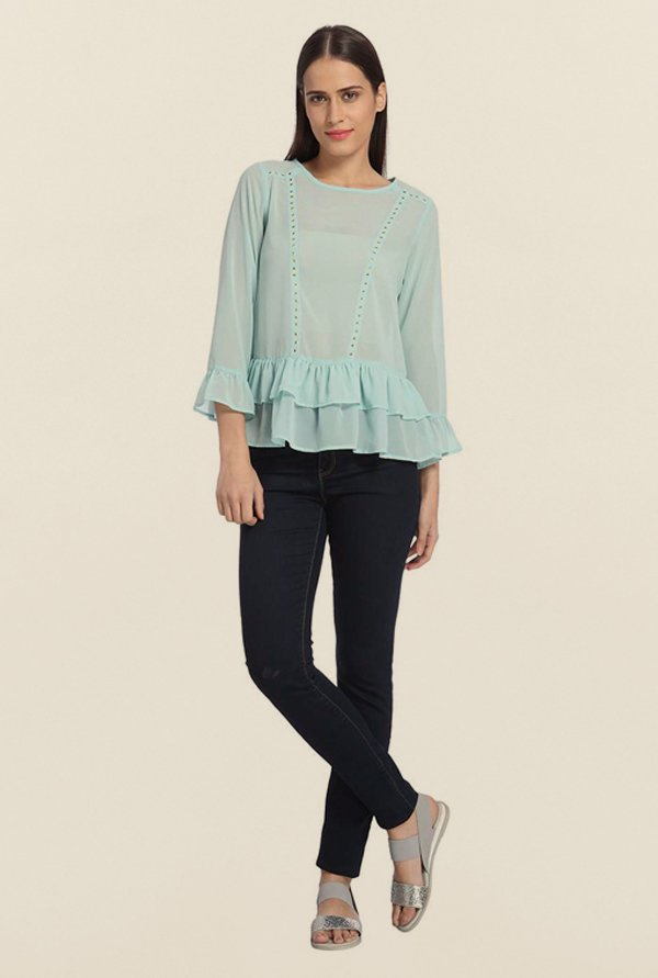 Vero Moda Canal Blue Solid Top