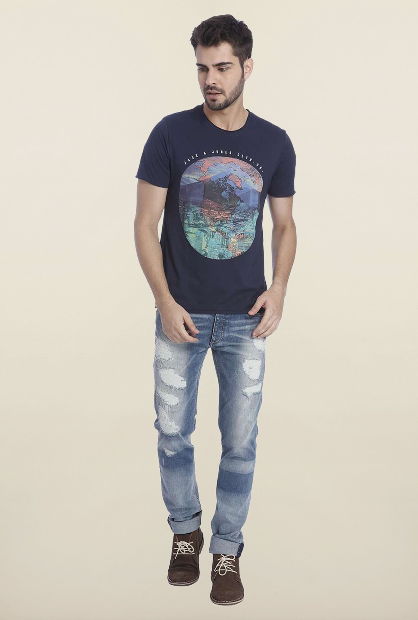 Jack & Jones Navy Graphic Crew Neck T Shirt