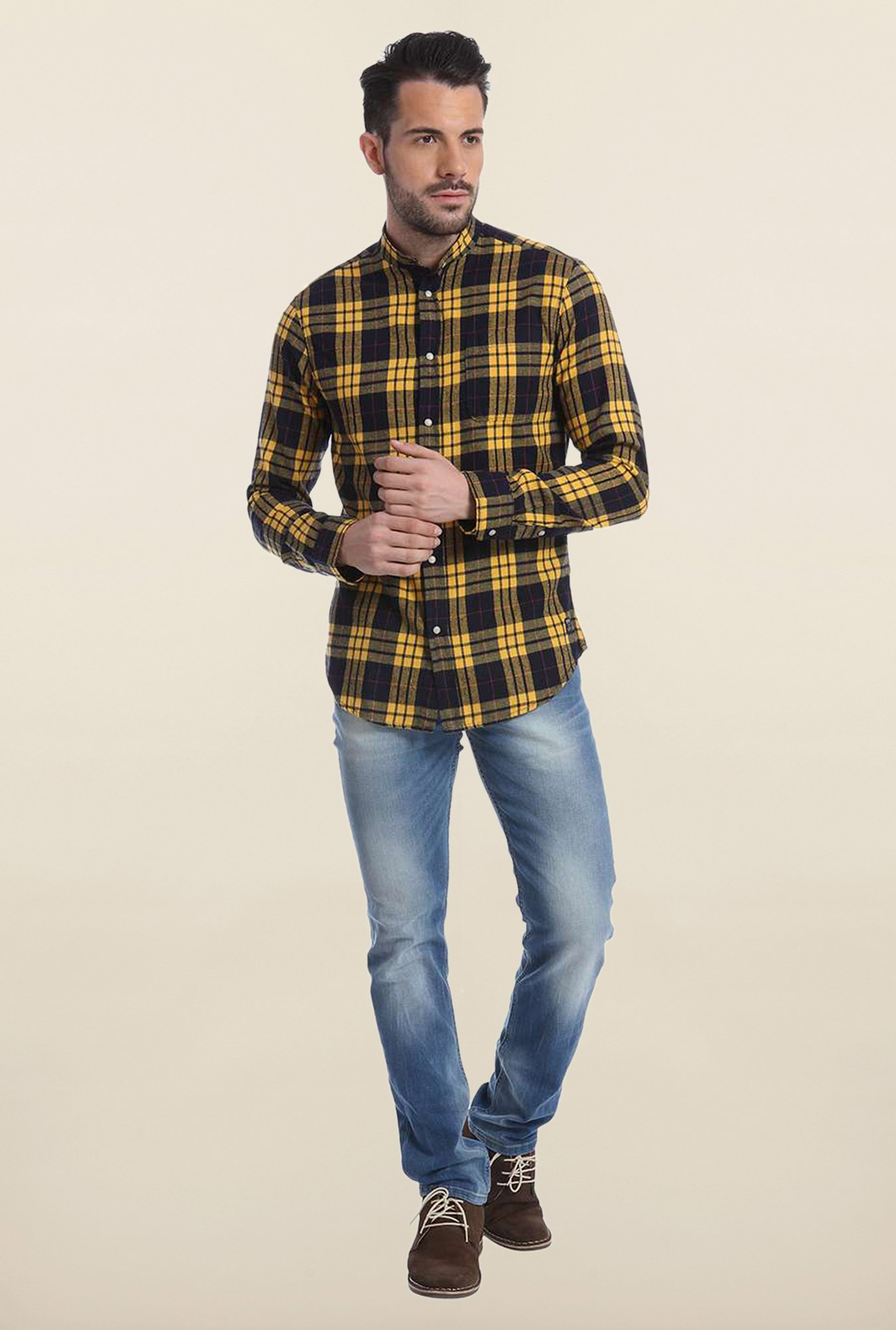 Jack & Jones Yellow And Black Checks Casual Shirt