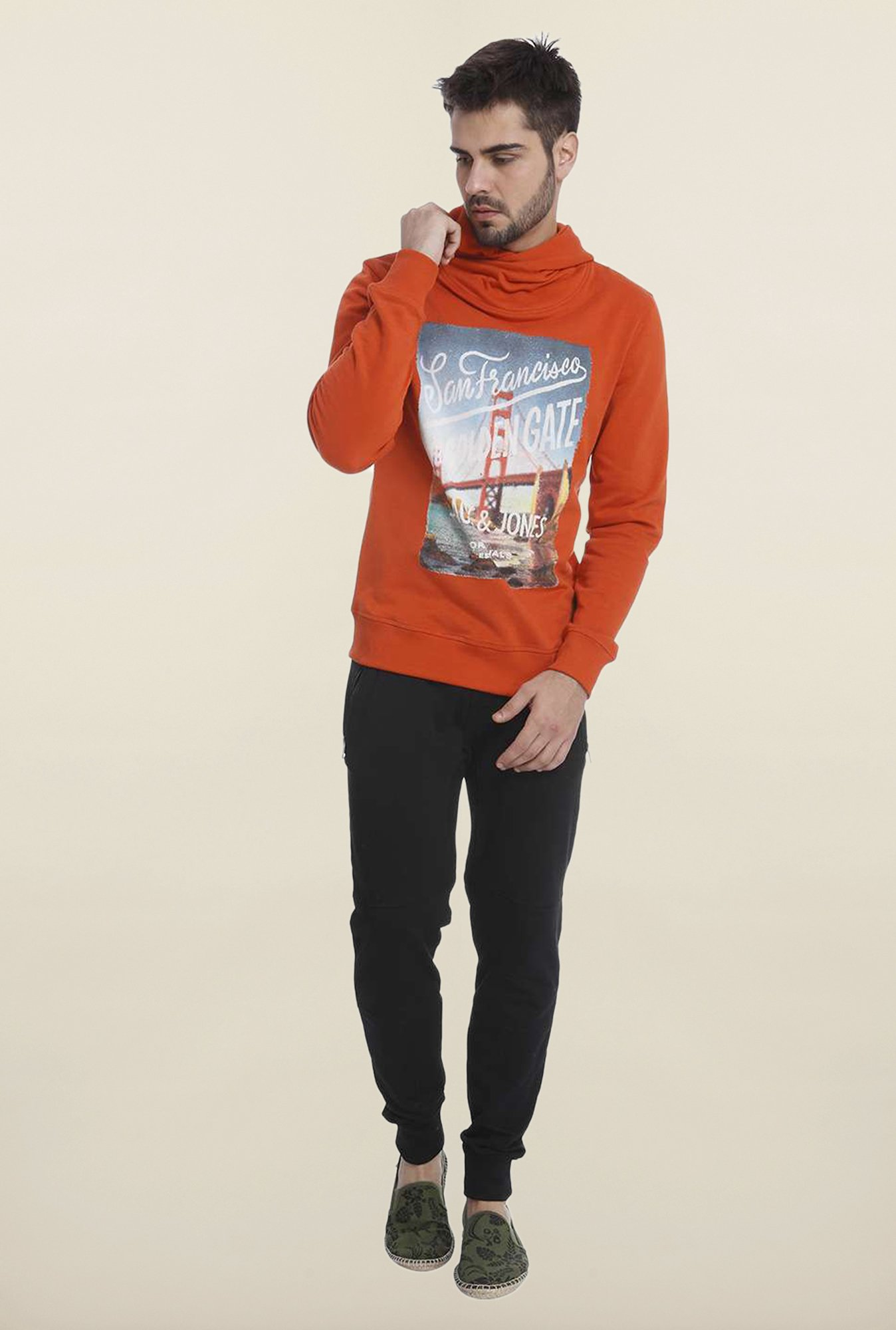 Jack & Jones Orange Graphic Printed Hoodie