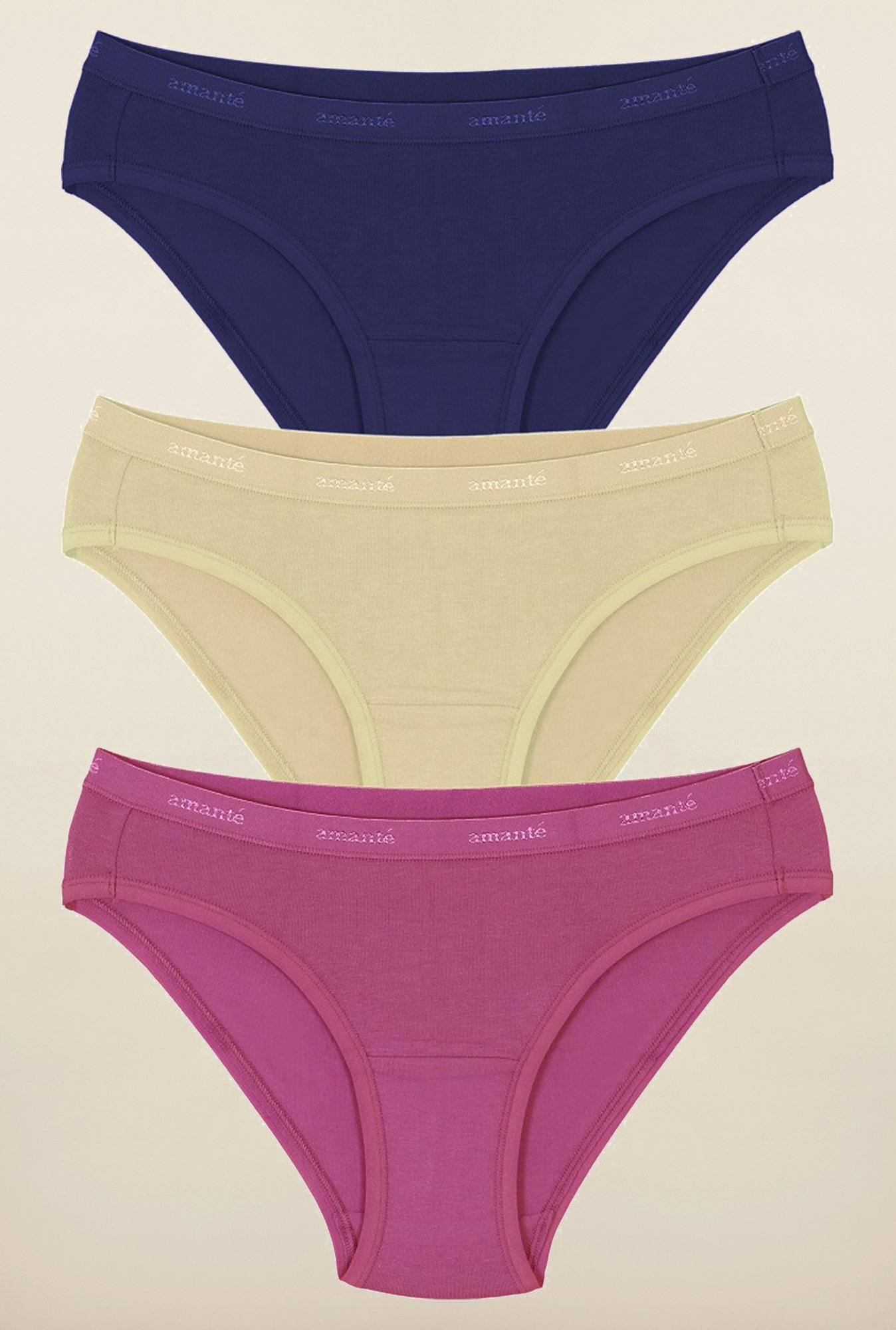 Amante Pink, Beige and Blue Bikini Panties (Pack Of 3)