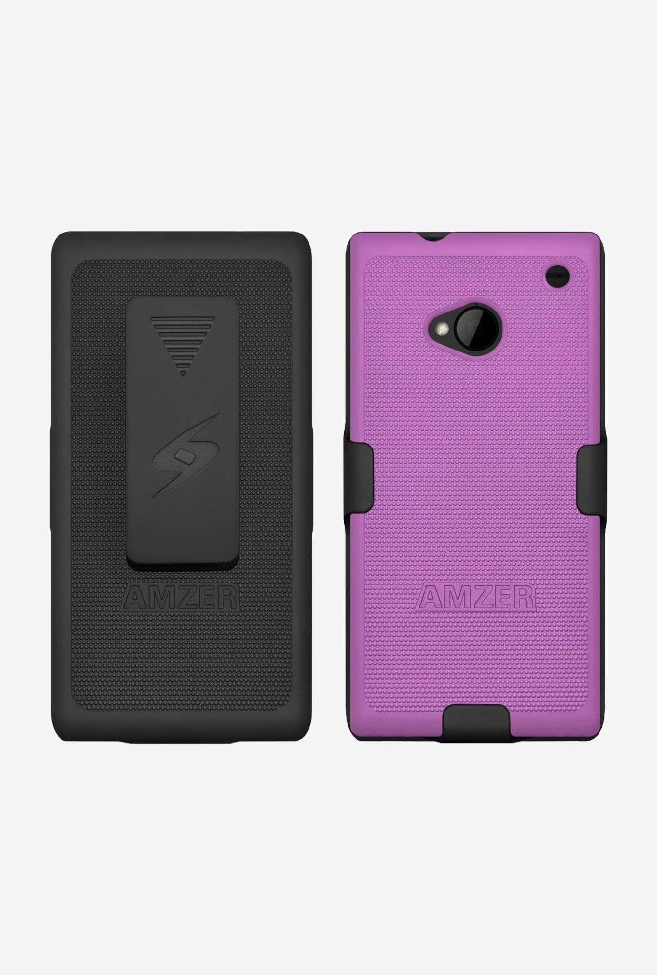 Amzer Shellster Shell Case Black & Purple for HTC One M7