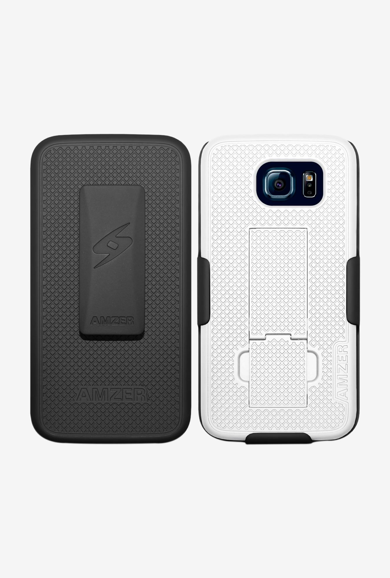 Amzer Shellster Case with Kickstand Black/White for S6