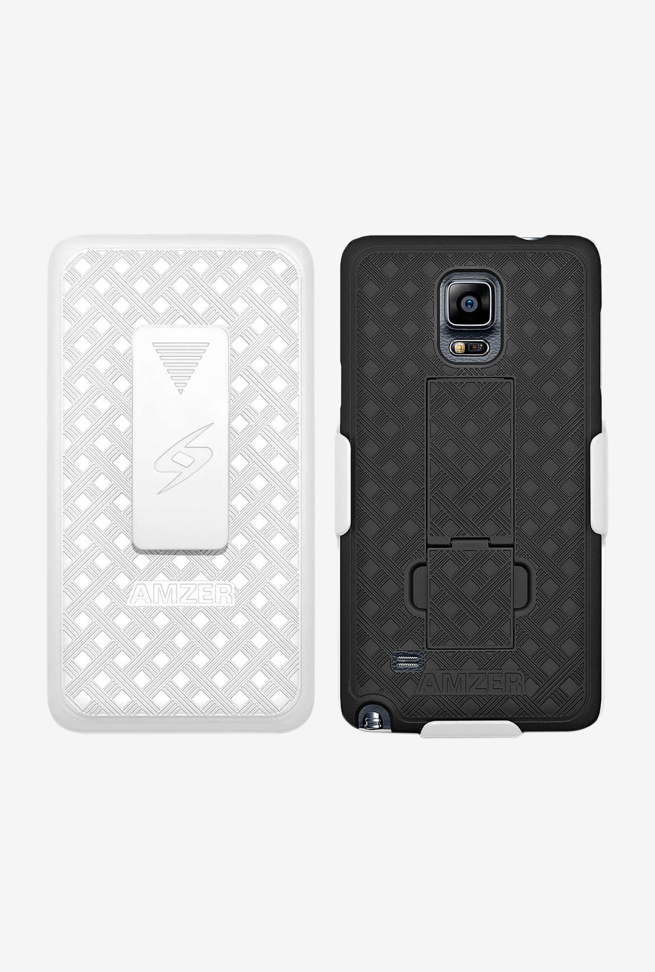 Amzer Shellster Case with Kickstand White/Black for Note 4