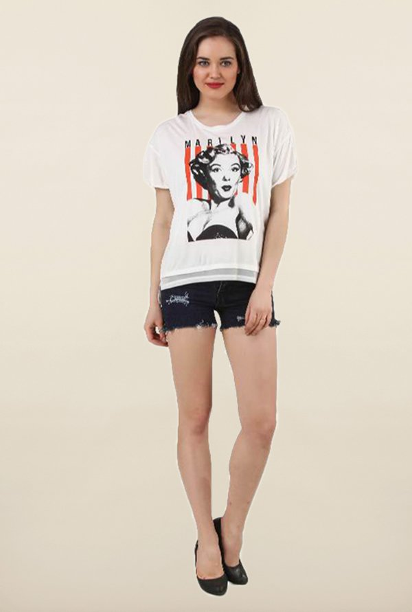 Marilyn Monroe Off White Printed Cotton Top