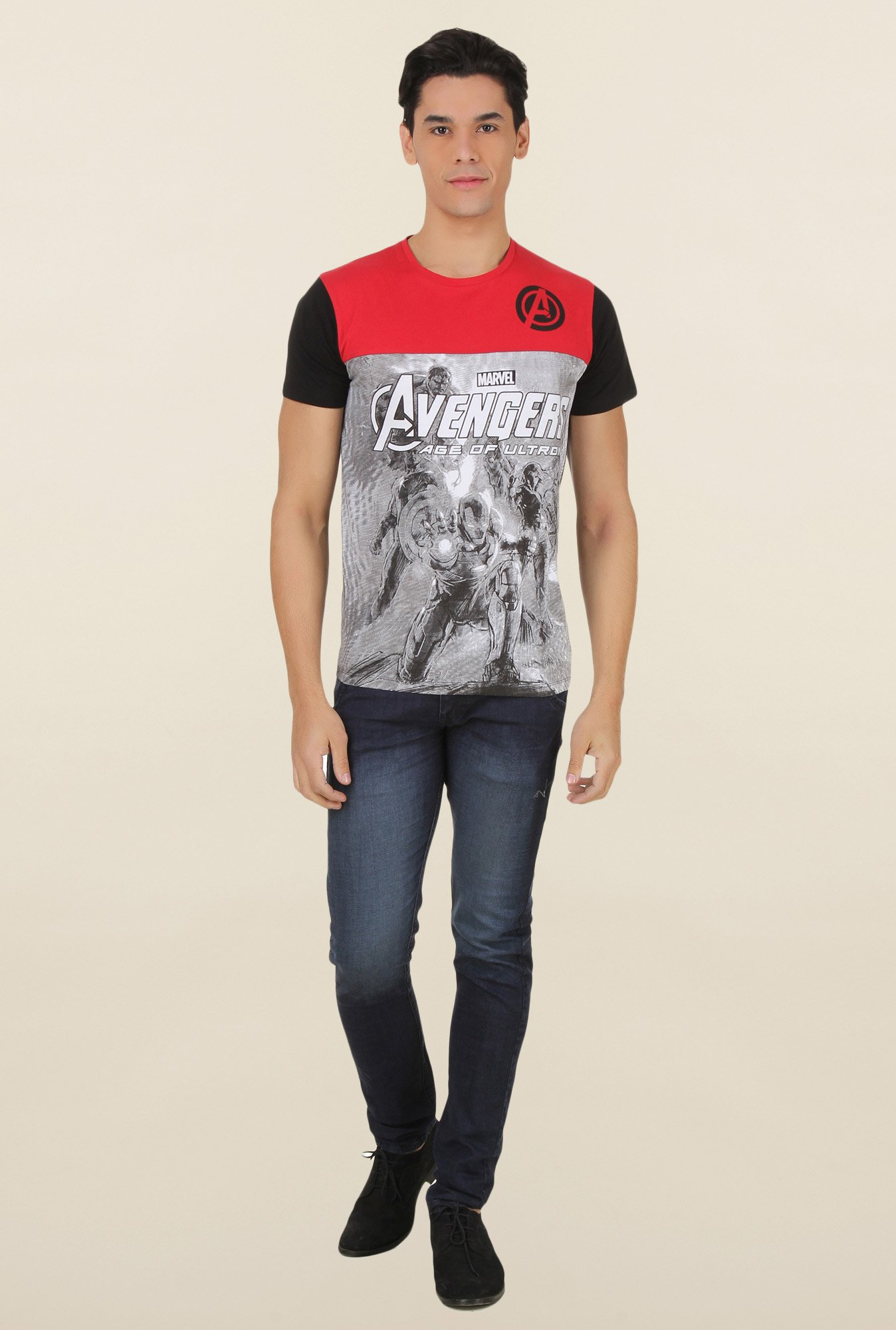Avengers Black Printed T Shirt