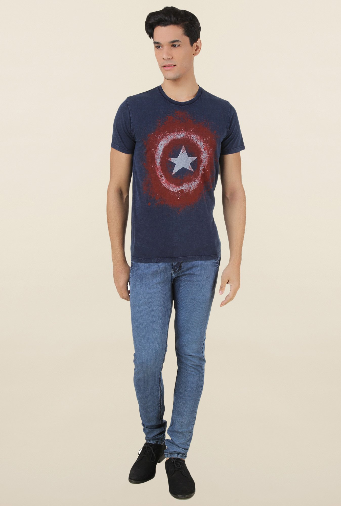 Captain America Navy Printed T Shirt