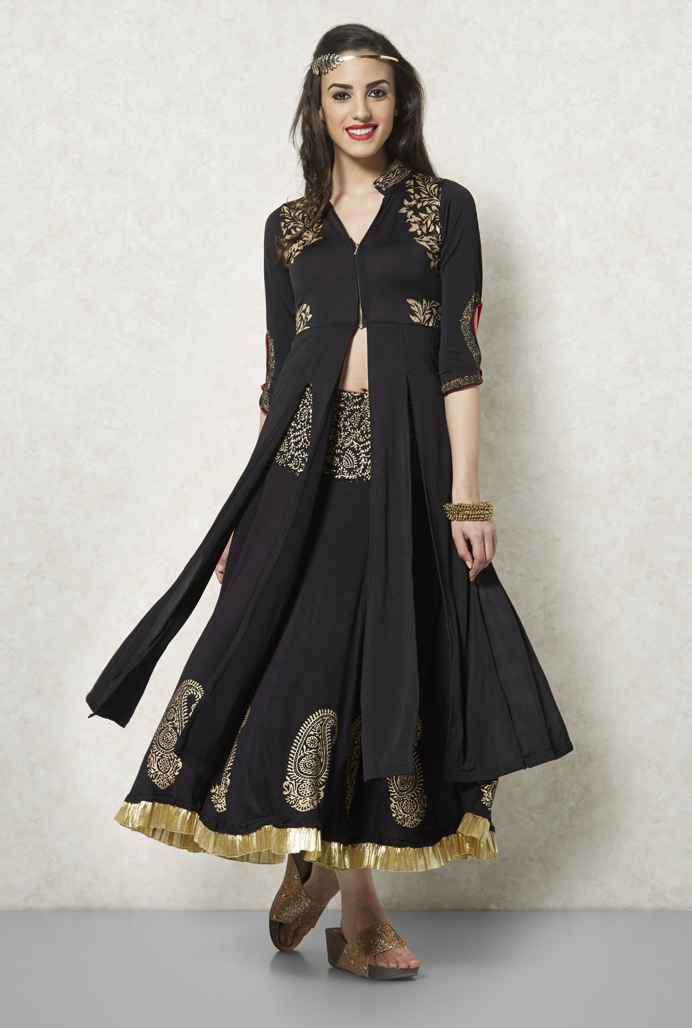 Ira Soleil Black And Gold Printed Long Kurta
