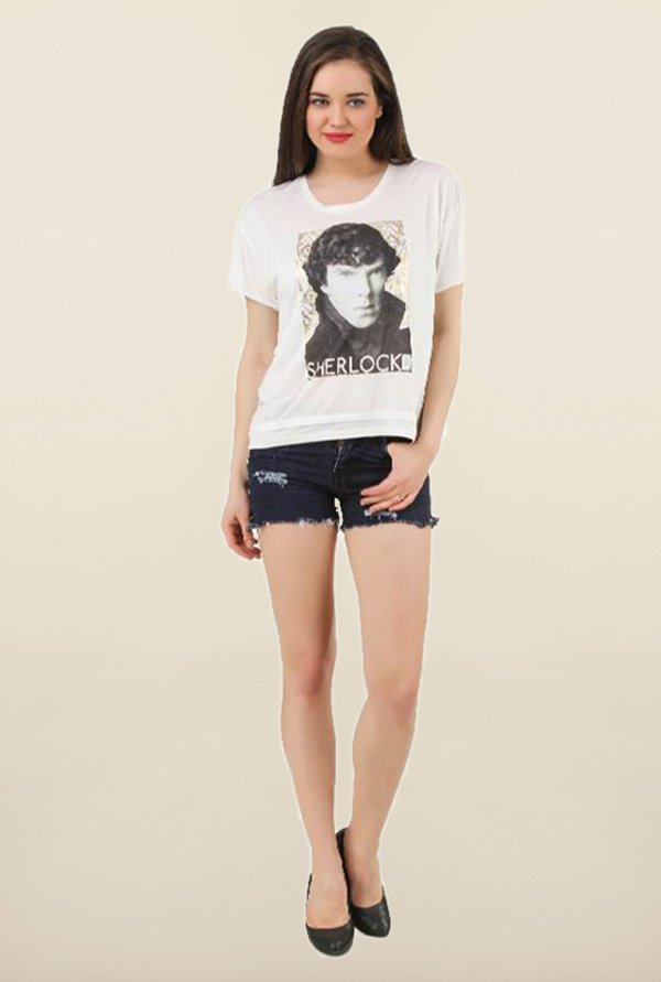 Sherlock Holmes Off White Printed Cotton Top