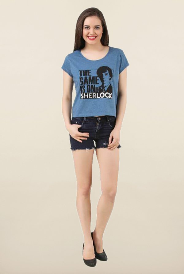 Sherlock Blue Neps Printed Top