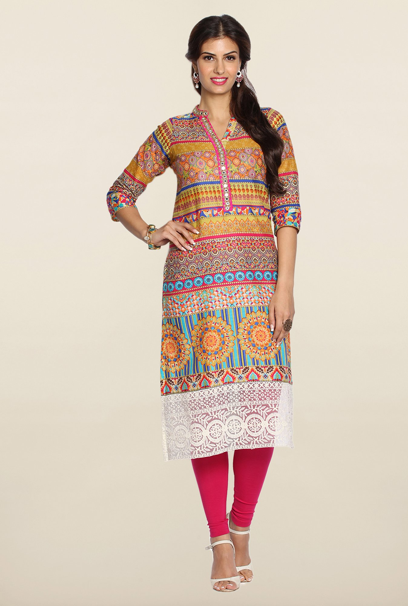 Soch Multicolor Cotton Kurta Suit Set
